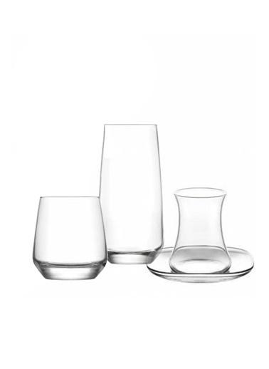 Lav Lal Çeyiz Seti 24 Prç. Su Bardak - Bardağı - Meşrubat Bardağı Renkli